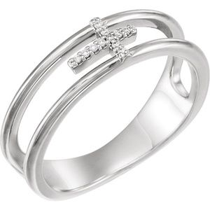 14K White.03 CTW Diamond Negative Space Cross Ring
